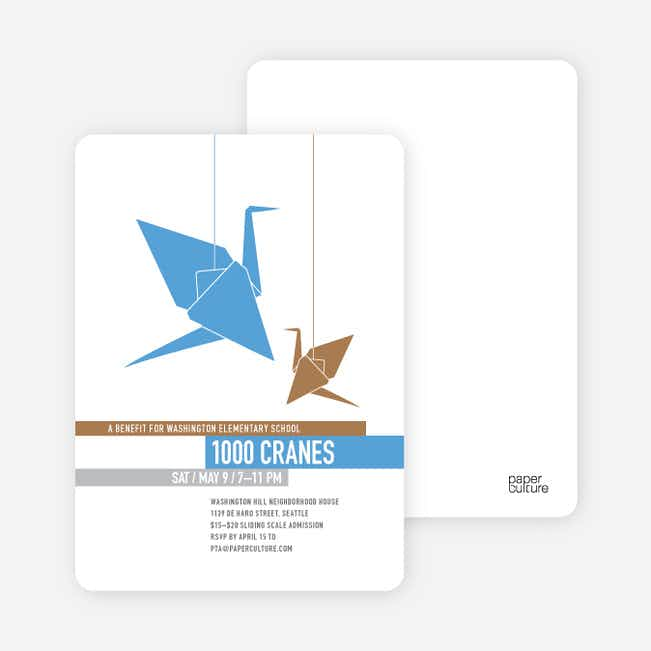 1000 Cranes Party Invitations - Royal Blue