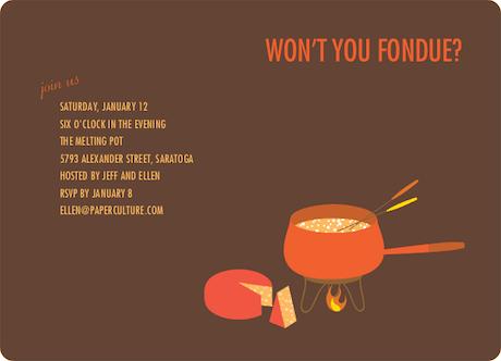 Fondue Party Invitations – Fondue Party Invitation Wording