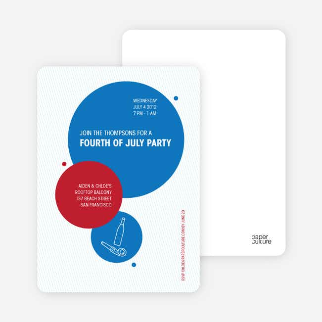 4th of July and Mardi Gras Celebrate Summer Party Invitations - Royal Blue