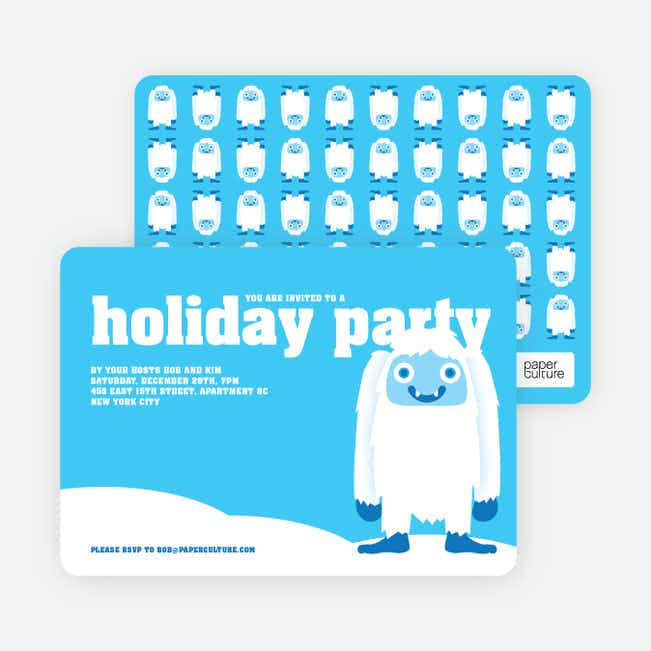 Abominable Snowman Holiday Invitations - Sky Blue