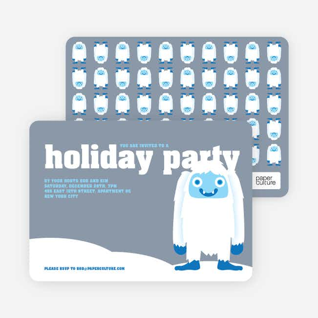 Abominable Snowman Holiday Invitations - Mercury