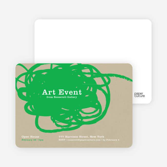 Abstract Brush Invitations - Green Mask
