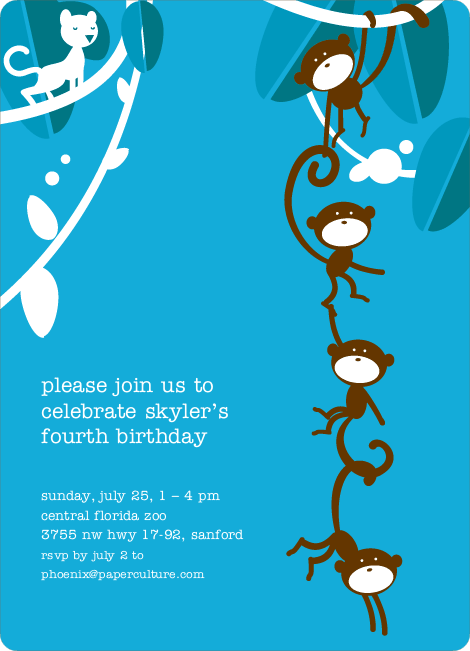 Monkey Business Birthday Invitation - Sky Blue