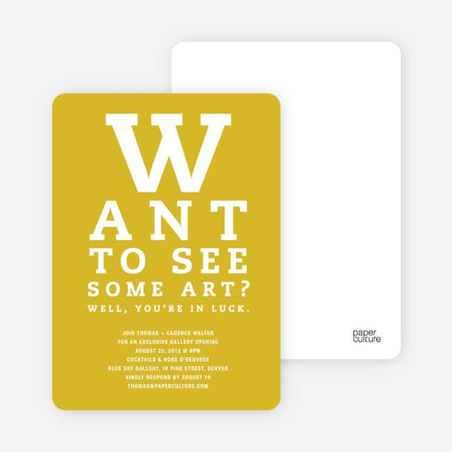 Art Gallery Opening Invitations Inspired by an Eye Chart - Mustard