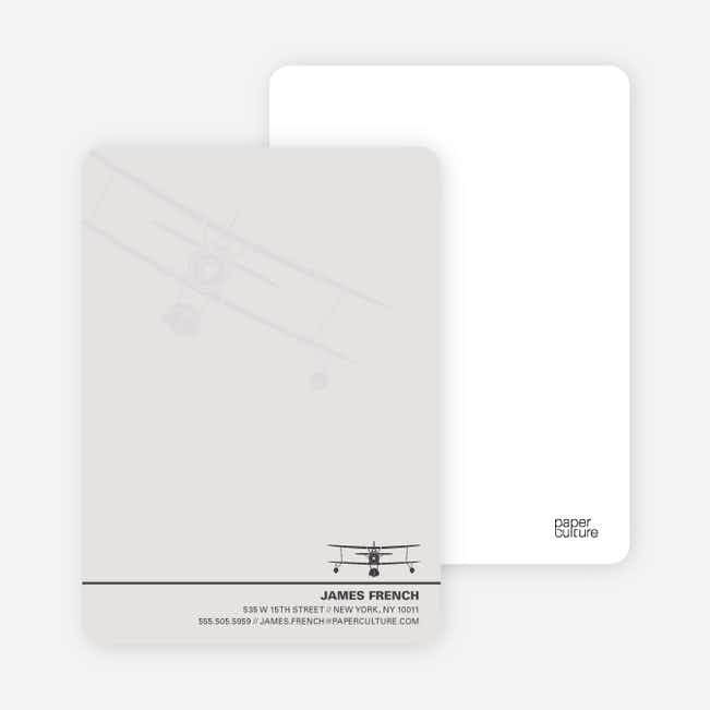 Aviator Custom Stationery for Airplane Fanatics - Ash