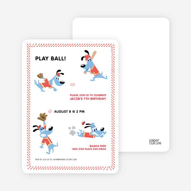 Babe Woof: Baseball Themed Party Invitations - Red Shirt