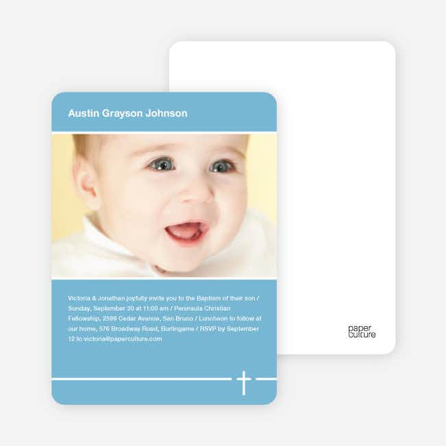 Baptism Photo Card: Simple Cross - Blue
