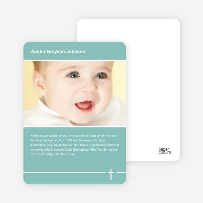 Baptism Photo Card: Simple Cross - Green