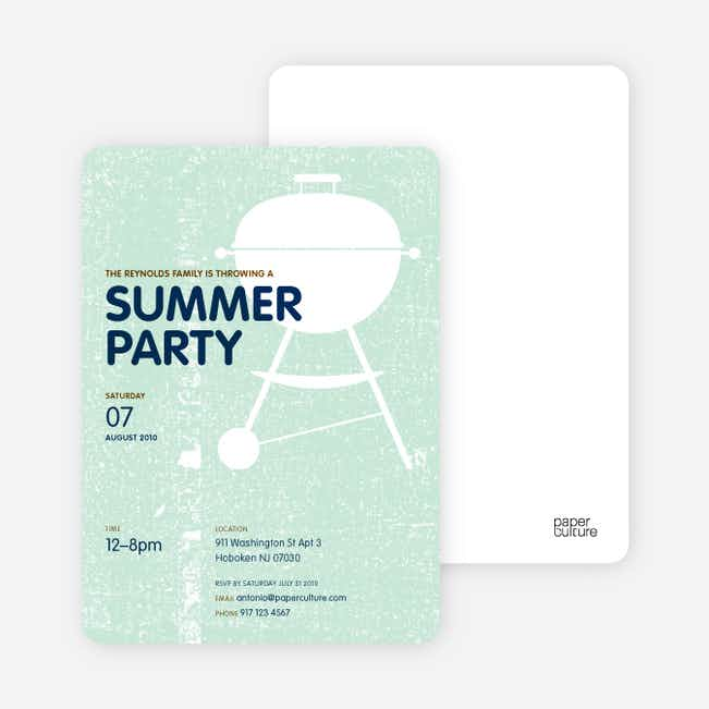 BBQ Summer Party Invitations - Mint