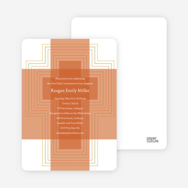 Bold, Geometric Cross – Holy Communion Invitations - Tangerine Orange