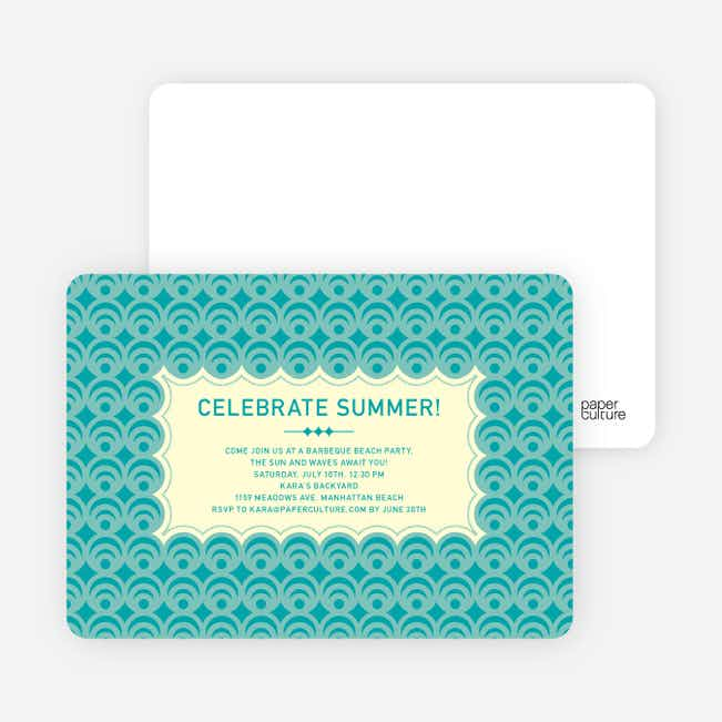 Bright and Bold Summer Celebration Invitations - Turquoise