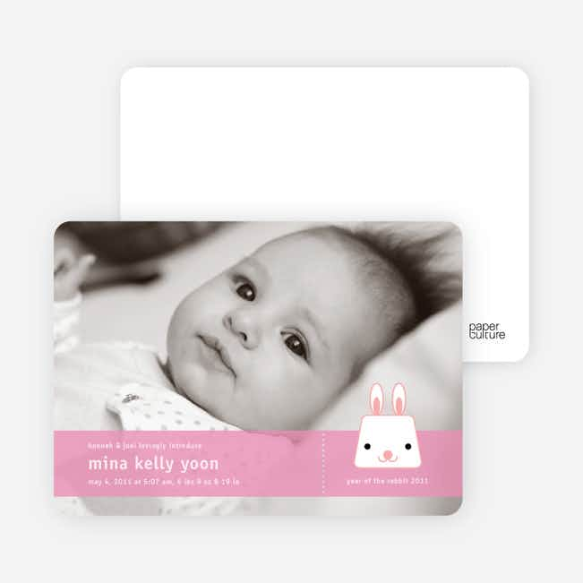 Bunny Rabbit Birth Announcements - Rabbit Ear