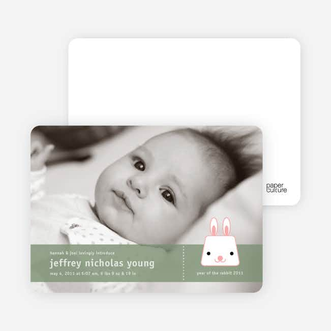 Bunny Rabbit Birth Announcements - Edamame