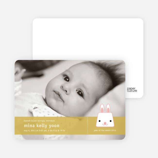 Bunny Rabbit Birth Announcements - Classical Gold