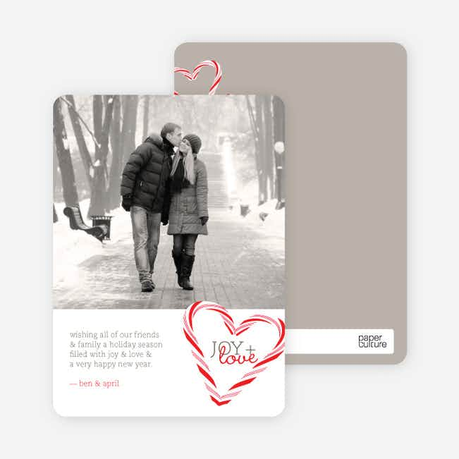 Candy Cane Joy Holiday Photo Cards - Tomato Red
