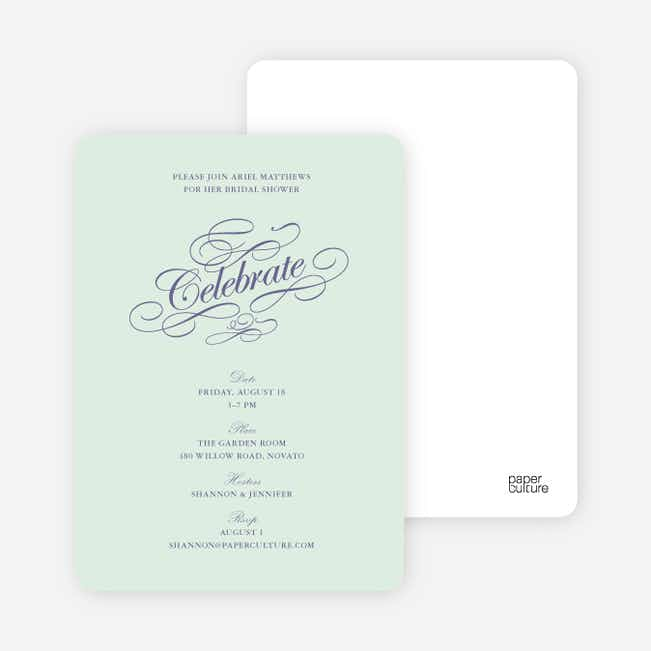 Celebrate: Bridal Shower Invitations - Pale Mint