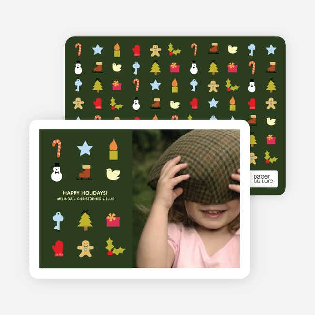Christmas Icons Holiday Photo Cards - Midnight Green