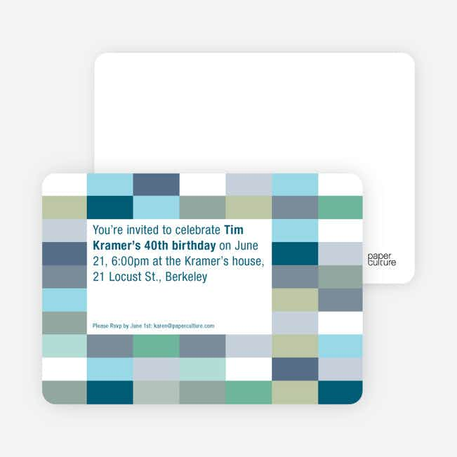 Color Blocks Party Invitations - Teal