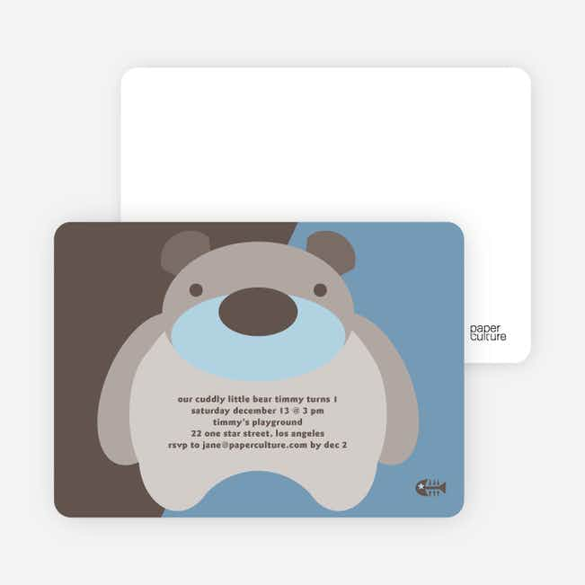 Cuddly Bear Birthday Party Invitations - Blueberry Bear