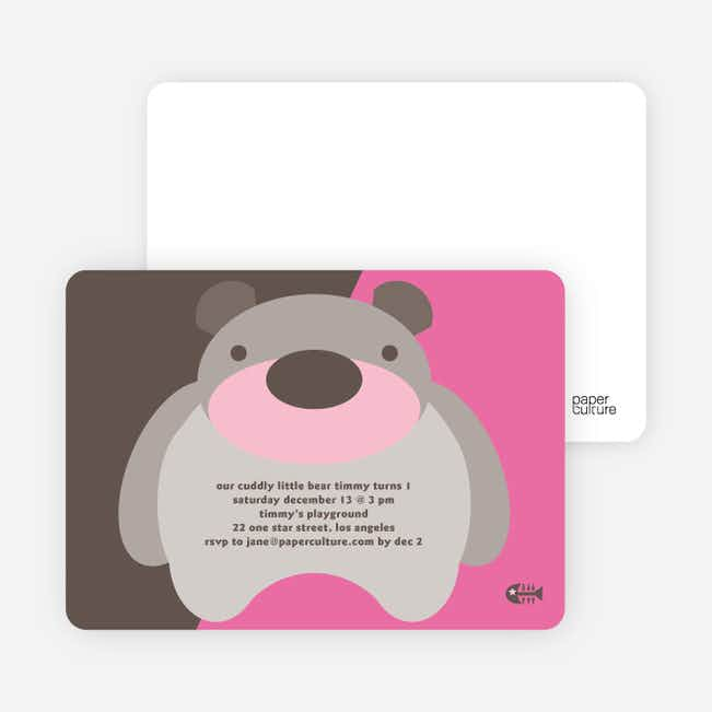 Cuddly Bear Birthday Party Invitations - Cranberry Cream