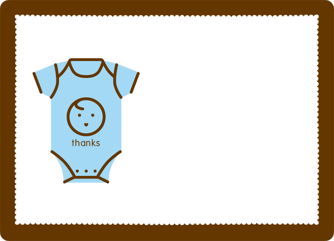 Thank You Card For Onesie Baby Shower