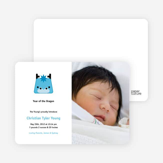 Denny the Dragon Photo Baby Announcements - Cornflower Blue