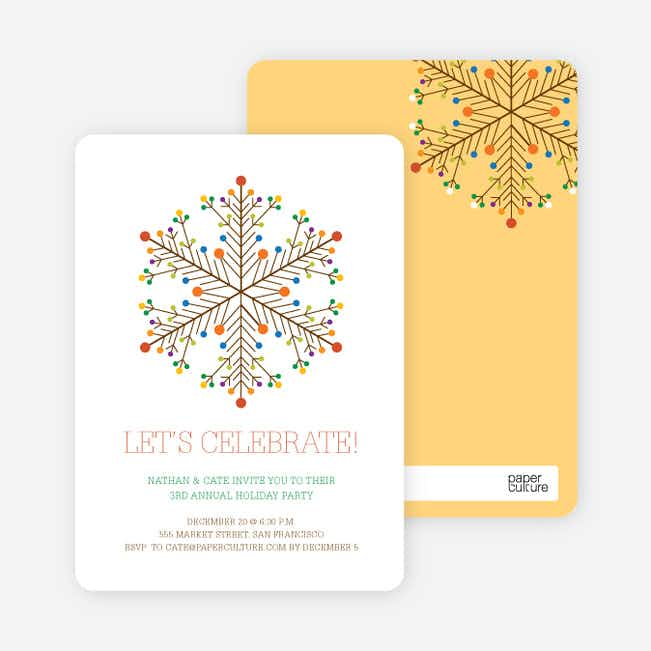 Dotted Snowflake Holiday Invitations - Chocolate