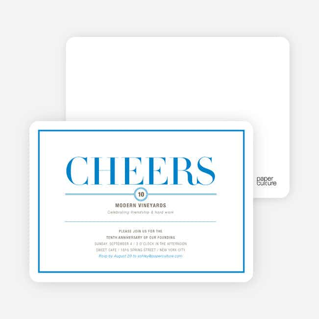 Elegant Cheers Invitations - Blue Hurricane