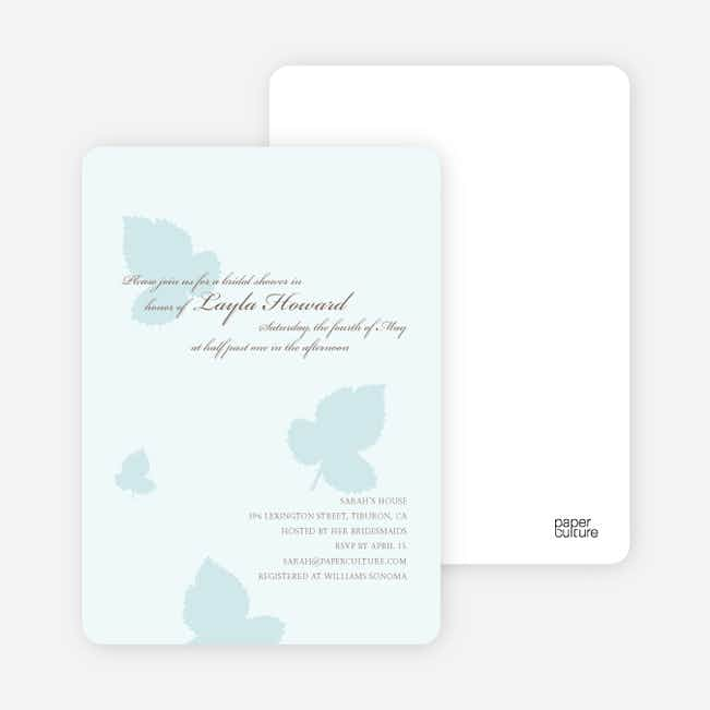 Elegant Leaves Bridal Shower Invitations - Ice Blue