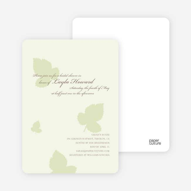 Elegant Leaves Bridal Shower Invitations - Honeydew