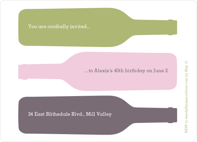 Fine Wine Party Invitation - Olive Green