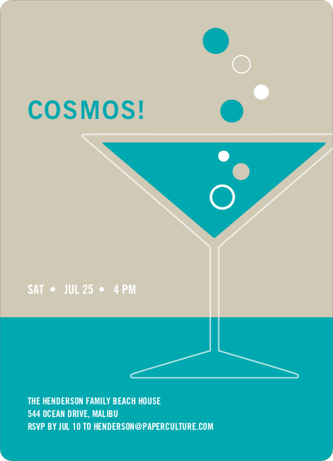 Cosmopolitan Party Invitations - Turquoise