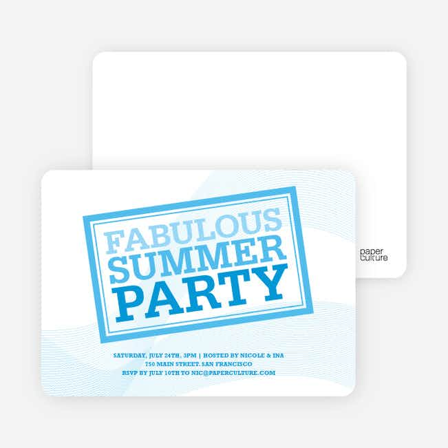 Fabulous Summer Party Invitations - Sky Blue