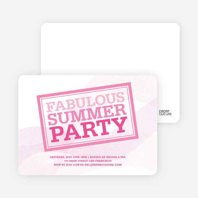 Fabulous Summer Party Invitations - Shocking Pink