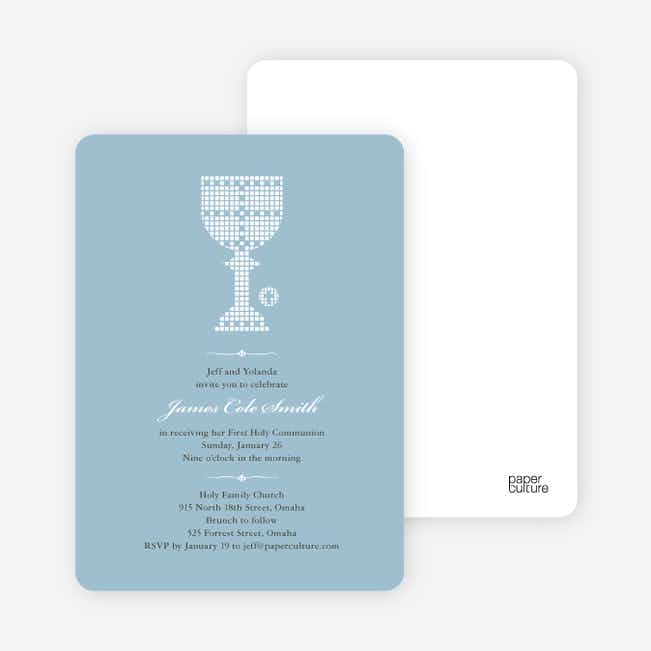First Sacrament Chalice Holy Communion Invitation - White