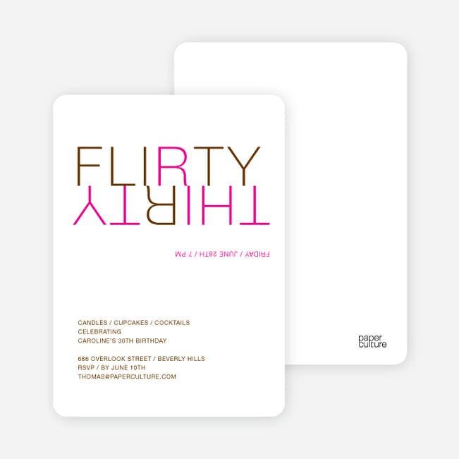 flirty thirty 30th birthday invitation paper culture