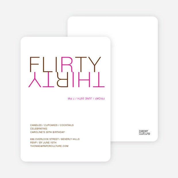 Flirty thirty 30th birthday invitation paper culture filmwisefo Images