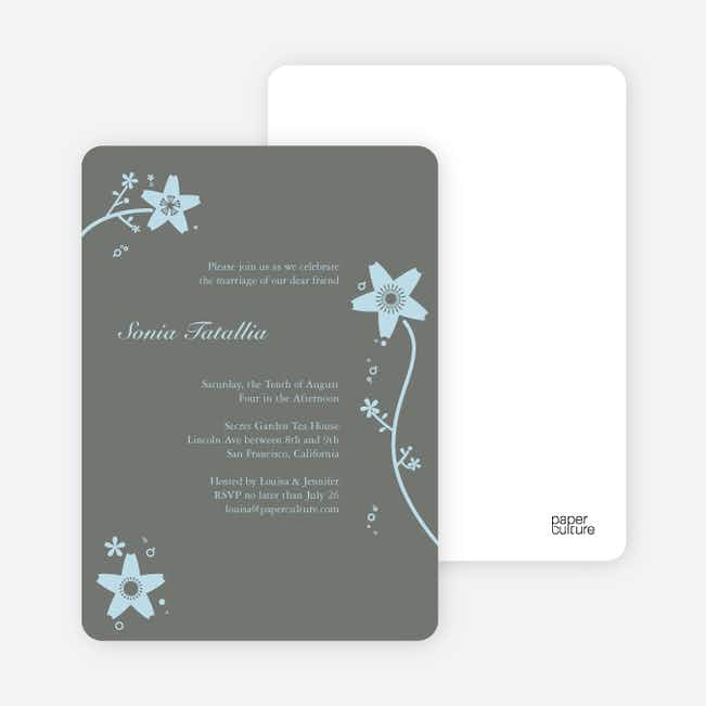 Floral Bridal Shower Invites - Baby Blue