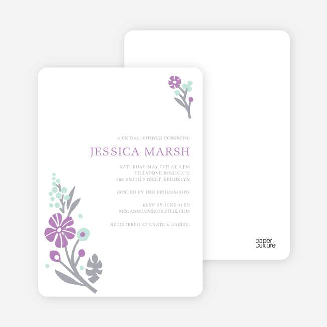 Flower Sprig Bridal Shower Invitations - Grape Petal