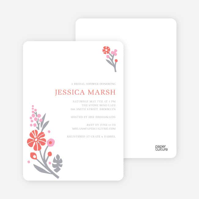 Flower Sprig Bridal Shower Invitations - Rosey Peach Blossom