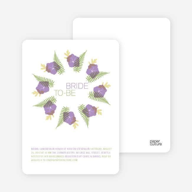 Flower Wreath Bridal Shower Invitations - Amethyst