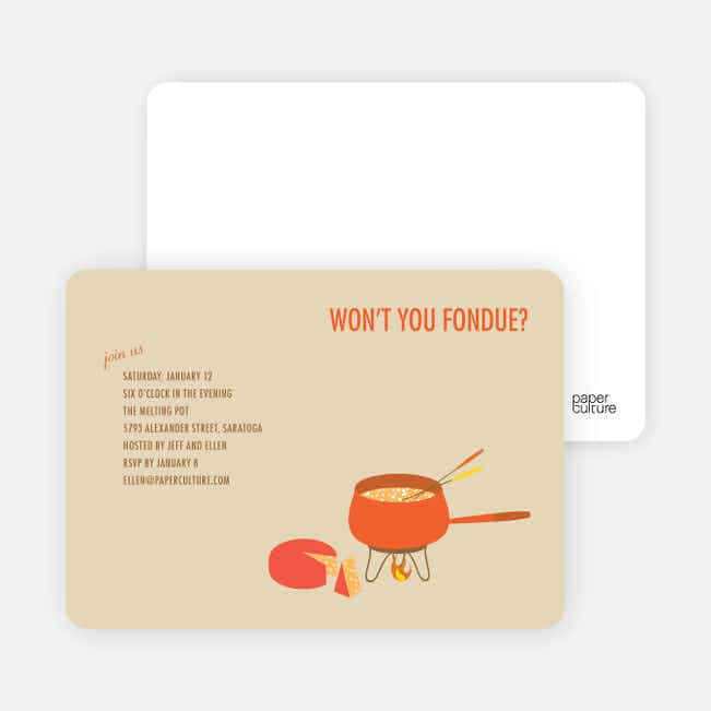 Fondue Party Invitations - Espresso