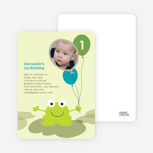 Frankie the Funky Frog Birthday Invitations - Teal Ice