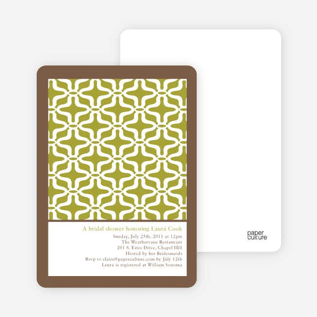 Geo Pattern Bridal Shower Invitations - Split Pea Soup