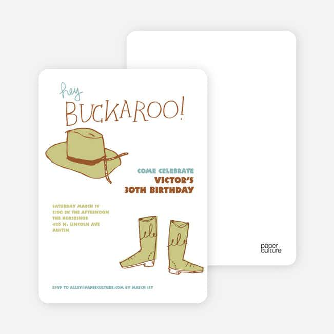 Hey Buckaroo: Wild West Cowboy Party Invitations - Green Saddle