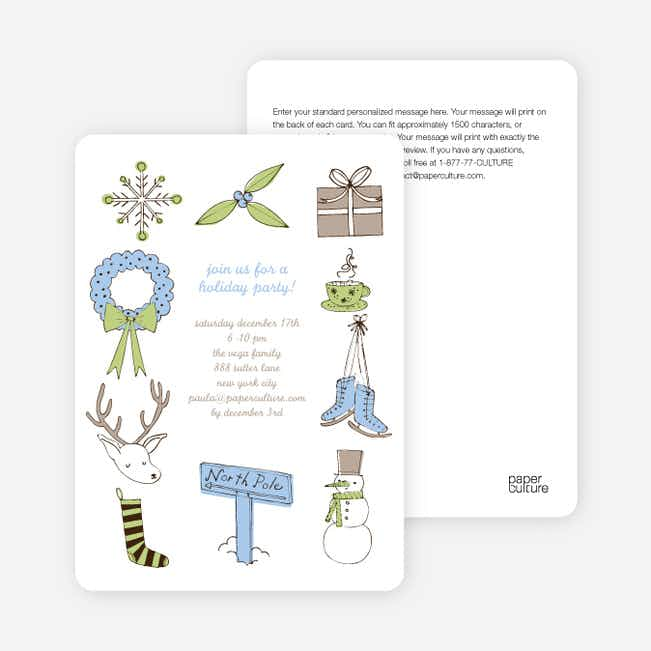 Holiday Icons Holiday Invitations - Misty Sky