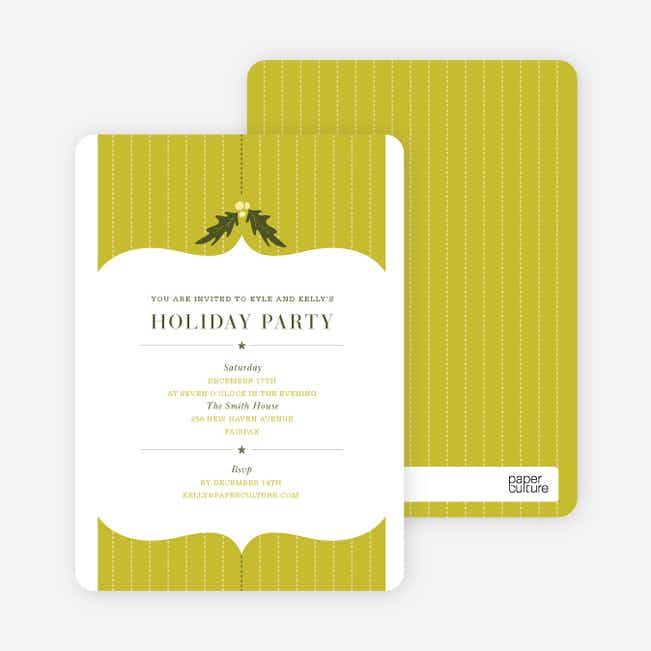 Holly Stripes Holiday Invitations - Olive Green