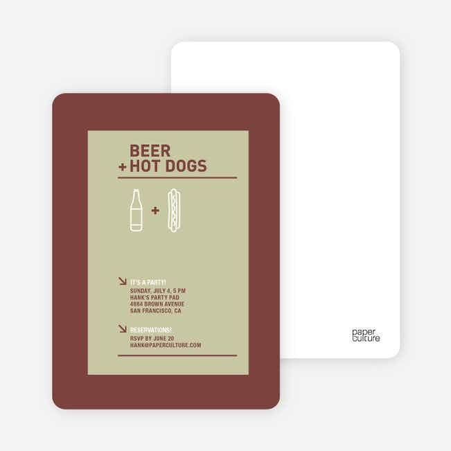 Hot Dog and Beer Party Invitations - Celadon