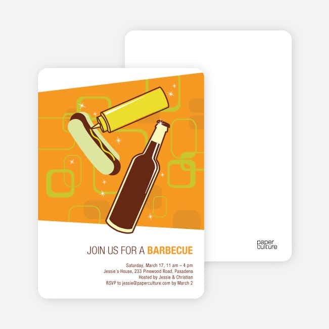 Hot Dogs and BBQ Party Invitations - Orange