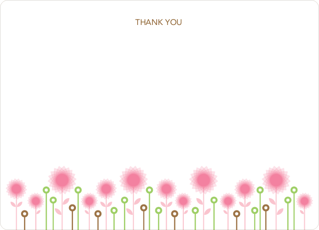 Thank You Card for Spirograph Flower Baby Shower Invitation - Hot Pink